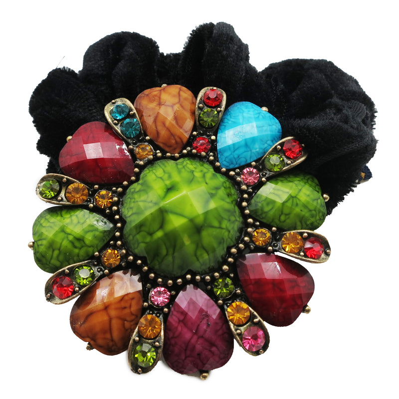 Colors Rhinestone Flower8 Donut Hairband