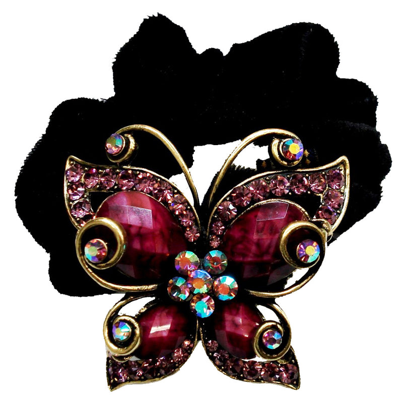 Colors Rhinestone Butterfly2 Donut Hairband