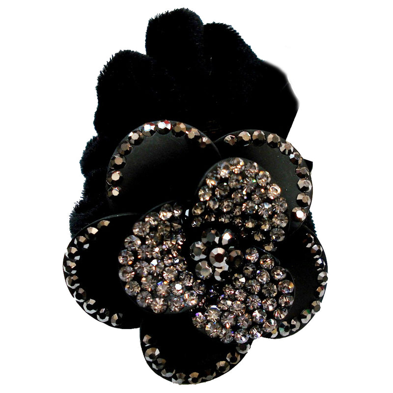 Rhinestone Black Rose3 Donut Hairband