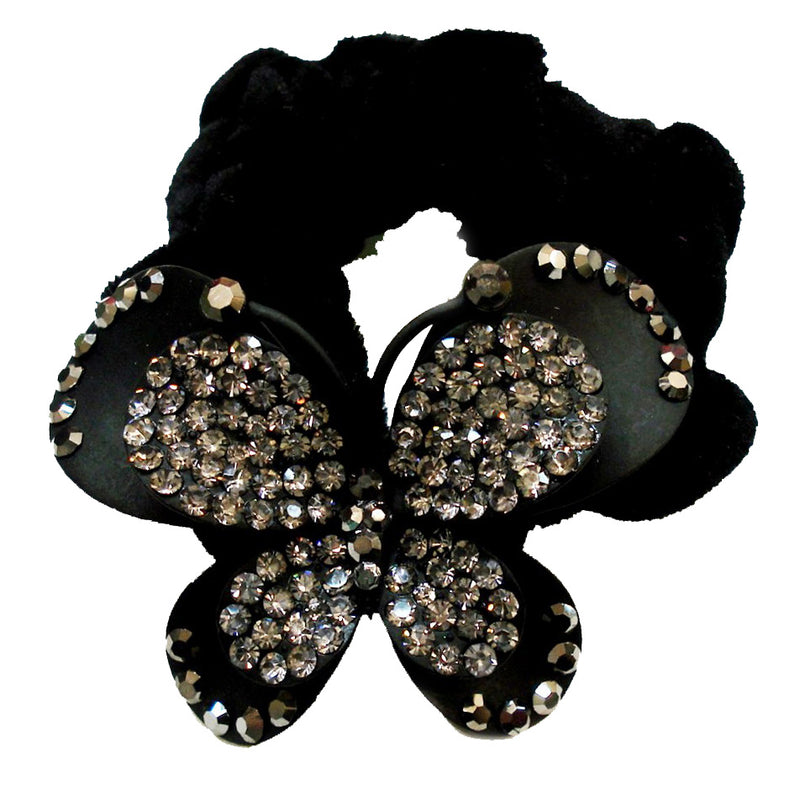 Rhinestone Black Butterfly Donut Hairband