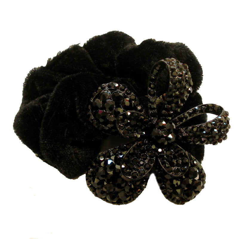 Rhinestone Black Flower5  Donut Hairband