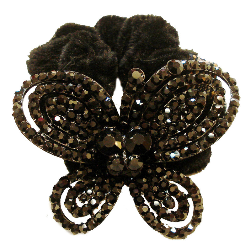 Rhinestone Black Butterfly2  Donut Hairband