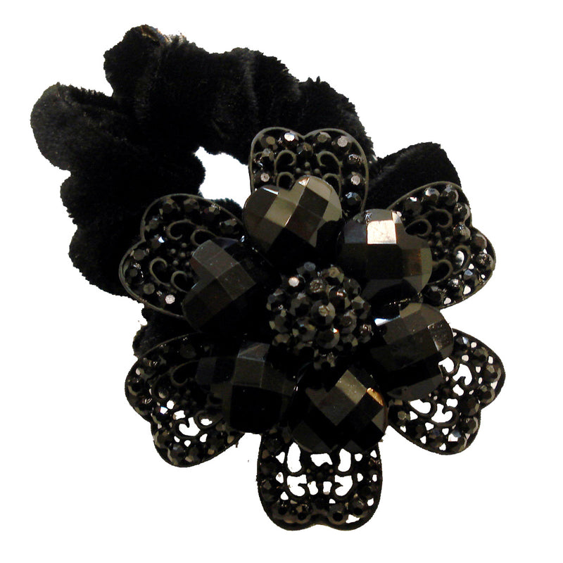 Rhinestone Black Flower10  Donut Hairband