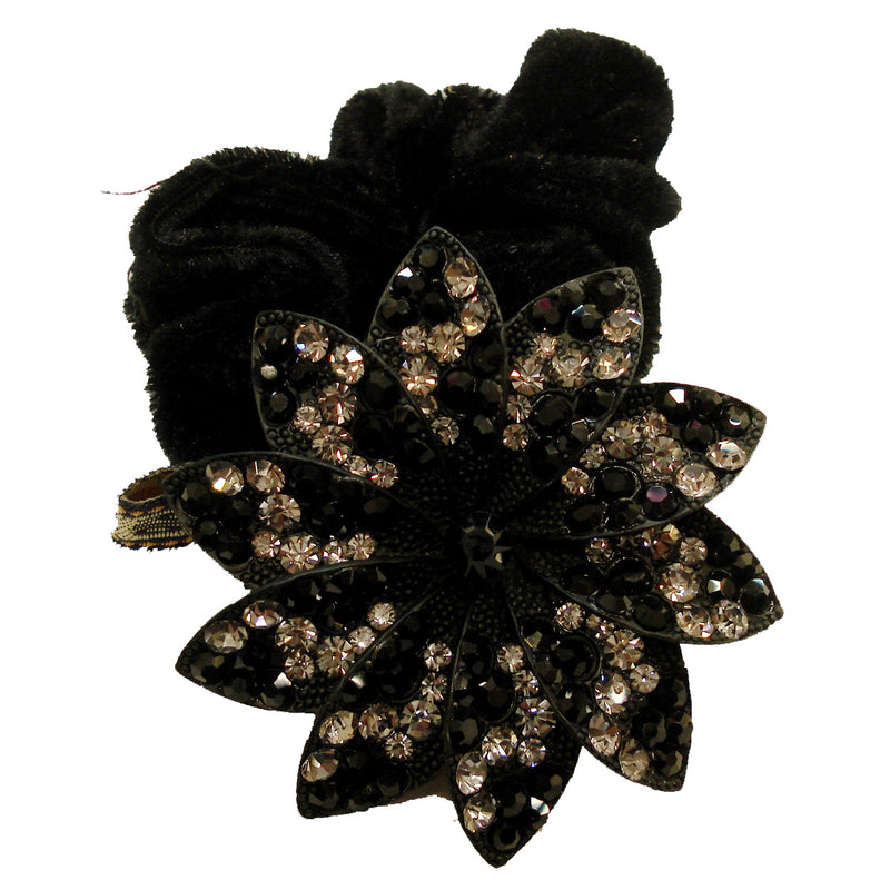 Rhinestone Black Sunflower Donut Hairband