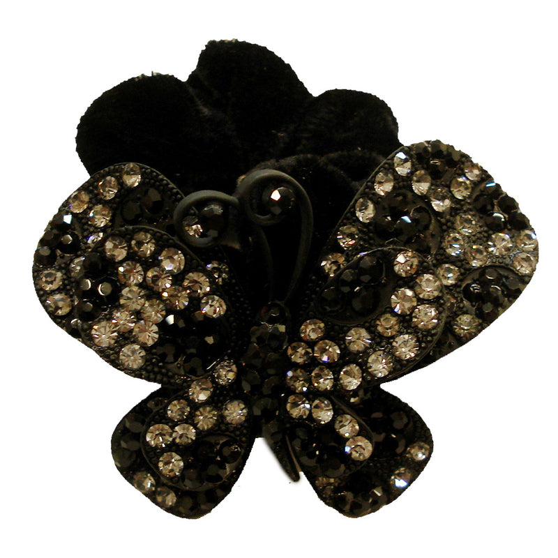 Rhinestone Black Butterfly3 Donut Hairband
