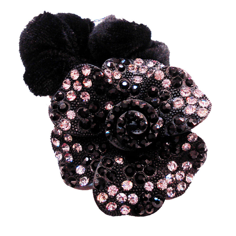 Rhinestone Black Rose Donut Hairband