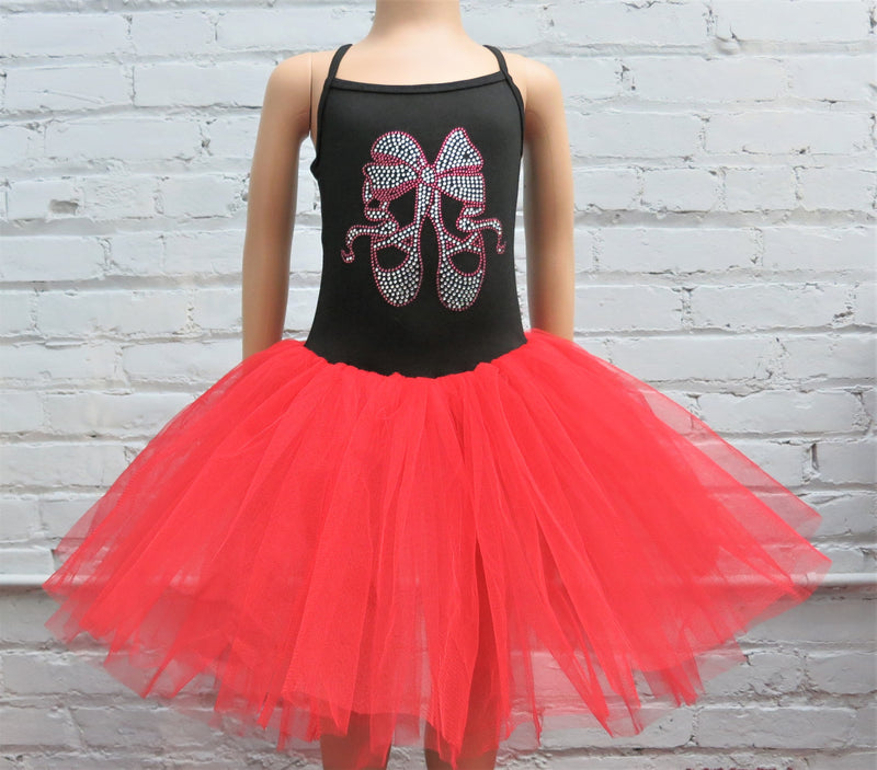 Black Red Rhinestone Ballet Shoes & Bow Ballet Dress