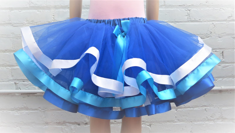 Royal Blue/Light blue/White Ribbon Trim Tutu