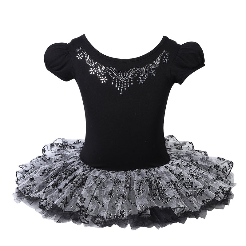 Black/Silver Flowers Ballet Dress
