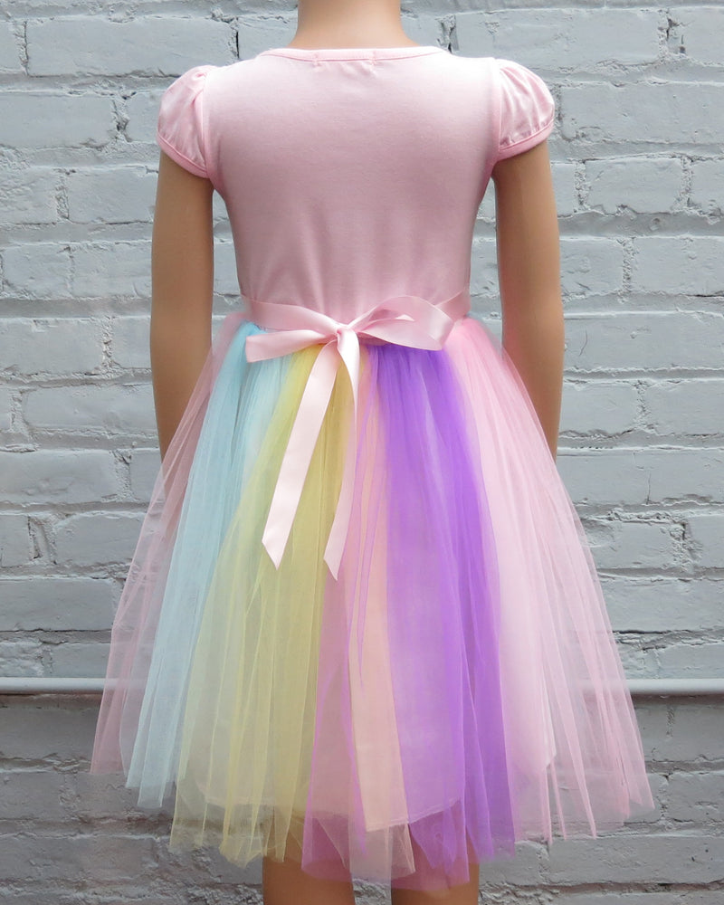 Pink Sequins Unicorn Rainbow Tulle Dress