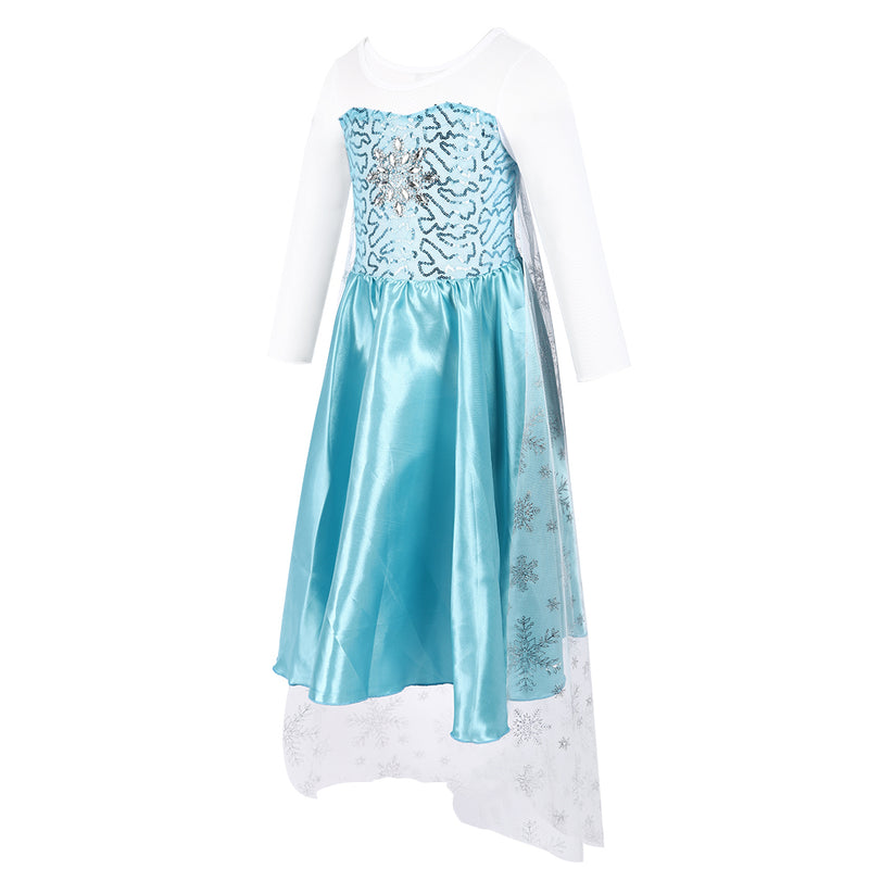 Blue/White Elsa Dress With Silver Snowflake Cape