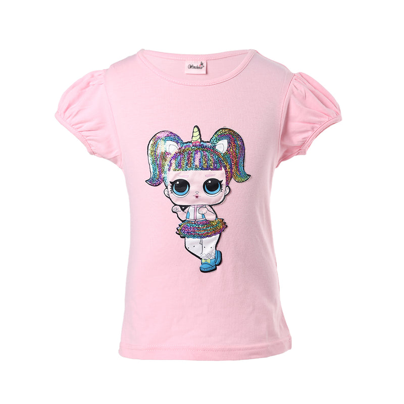 Pink Unicorn LOL Sequins Short Sleeve Shirt