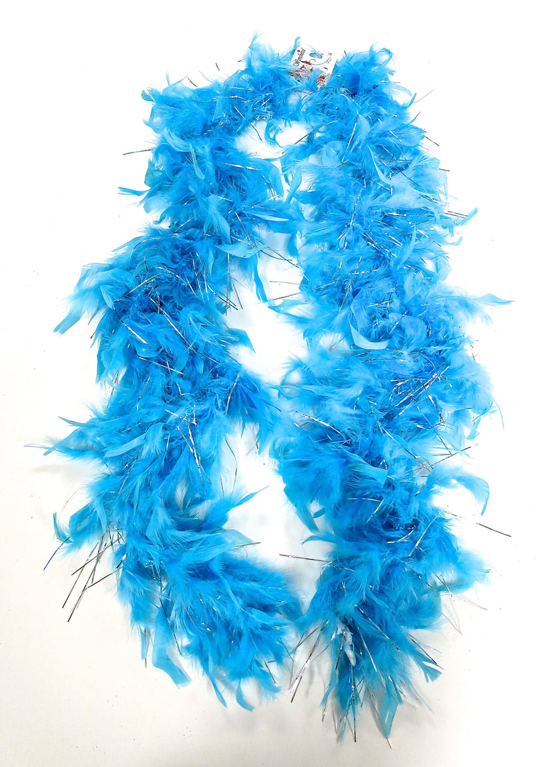 Blue Feather Silver Thread Boa