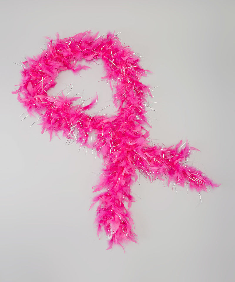 Hot Pink Feather Silver Thread Boa