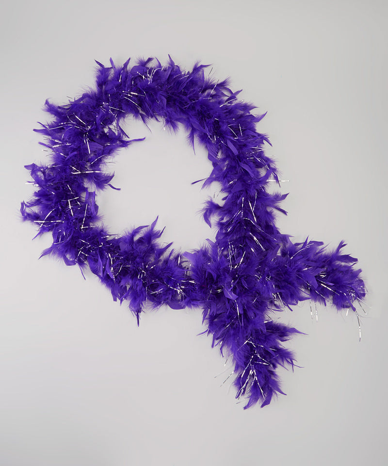 Purple Feather Silver Thread Boa