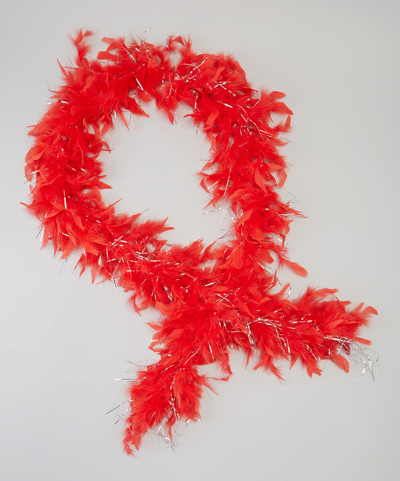 Red Feather Silver Thread Boa