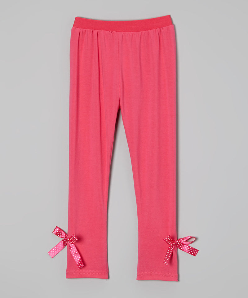 Hot Pink Legging With Bow