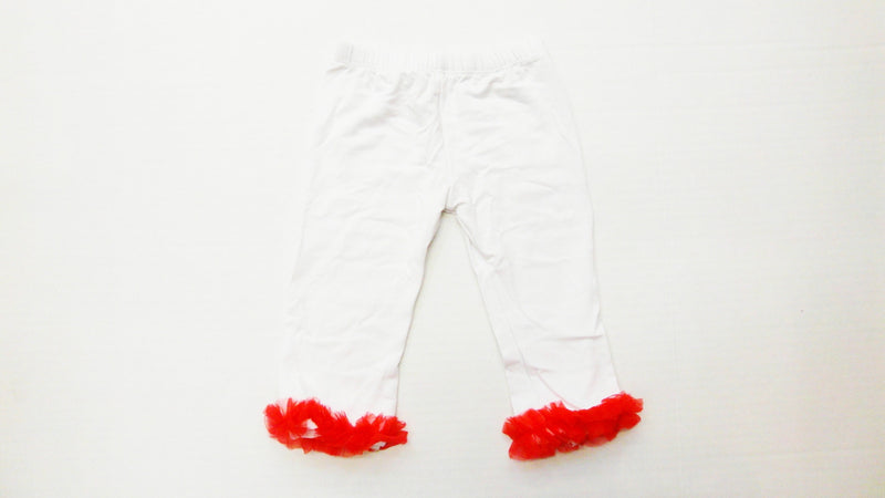 100% Cotton White Legging With Red Ruffle
