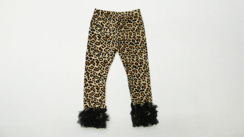 Leopard Printed Legging With Black Double Ruffle