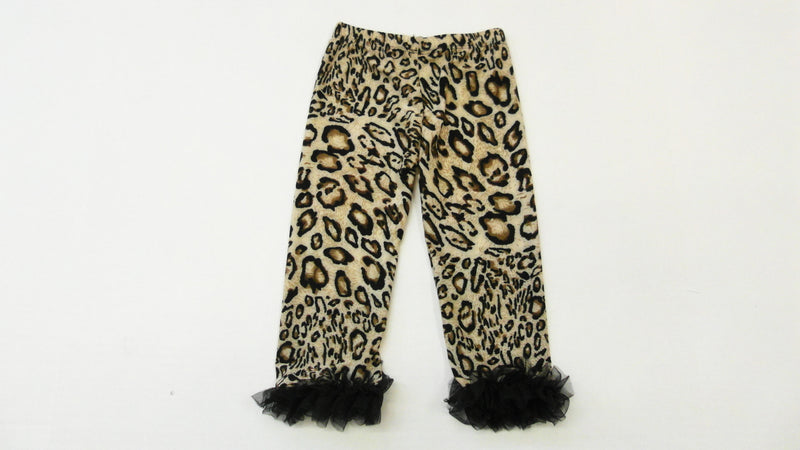 Cheetah Printed Legging With Black Ruffle