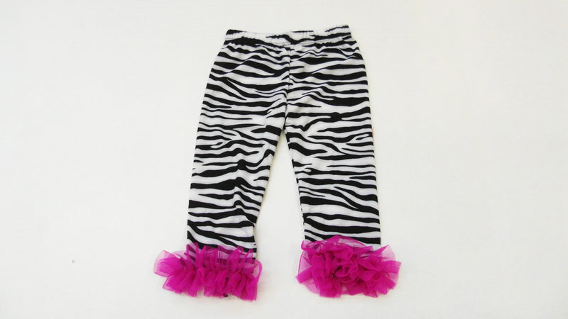 Zebra Printed Legging With Hot Pink Ruffle