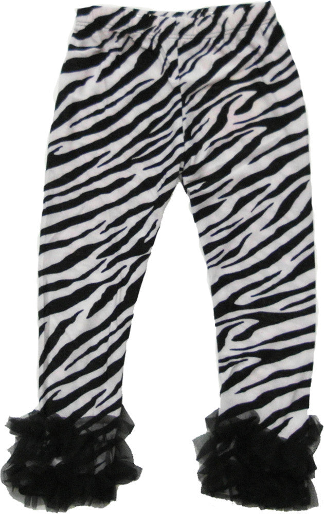 Zebra Printed Legging With Black Double Ruffle