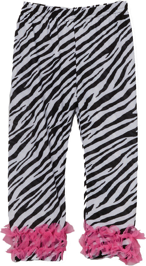 Zebra Printed Legging With Hot Pink Double Ruffle
