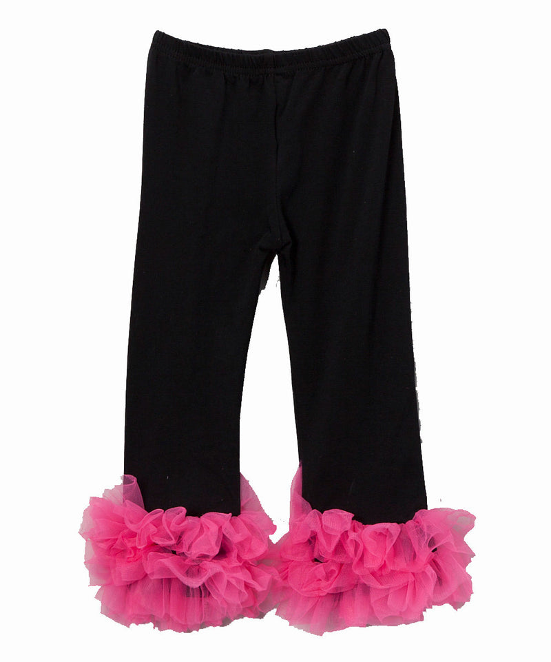 Black Legging With Hot Pink Double Ruffle