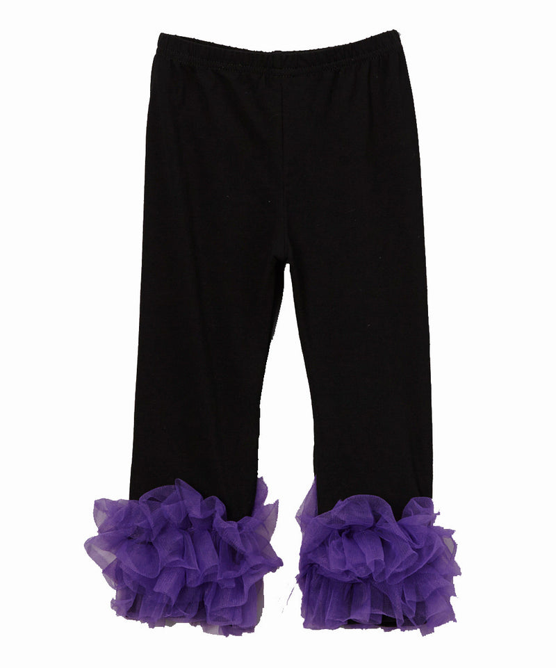 Black Legging With Pueple Double Ruffle
