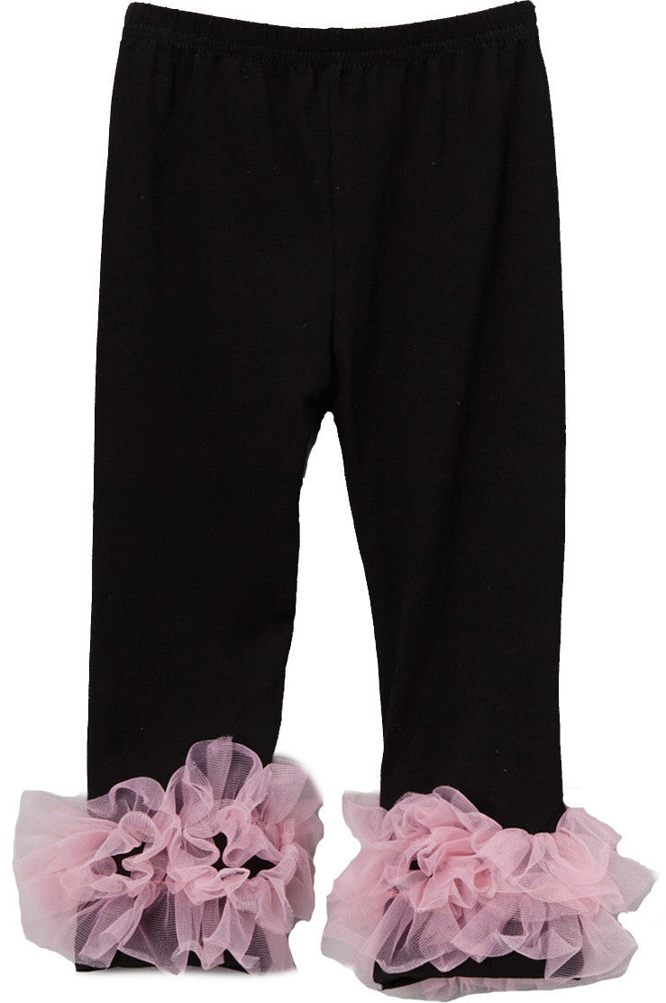 Black Legging With Pink Double Ruffle