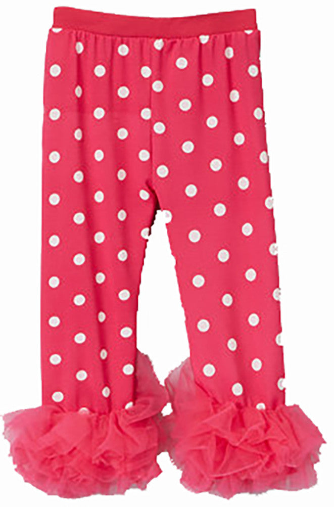 Hot Pink White Dot Lycra Legging