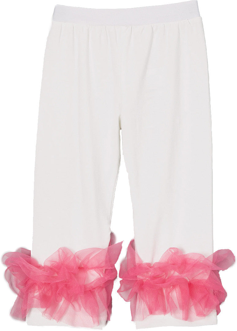 Off White Legging With Hot Pink Double Ruffle