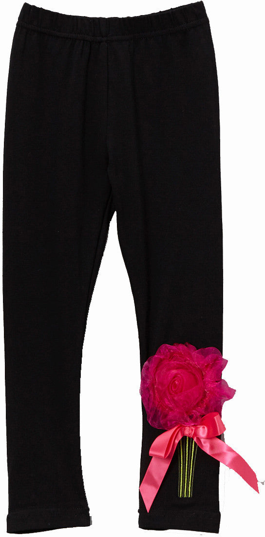 Black Legging With Organdy Flower