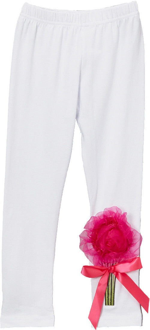 White Legging With Organdy Flower