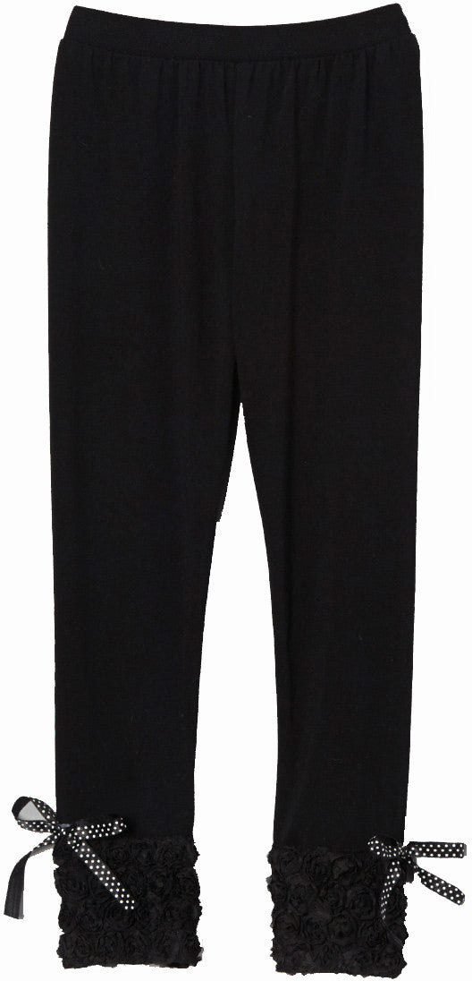 Rose Trim Black Legging