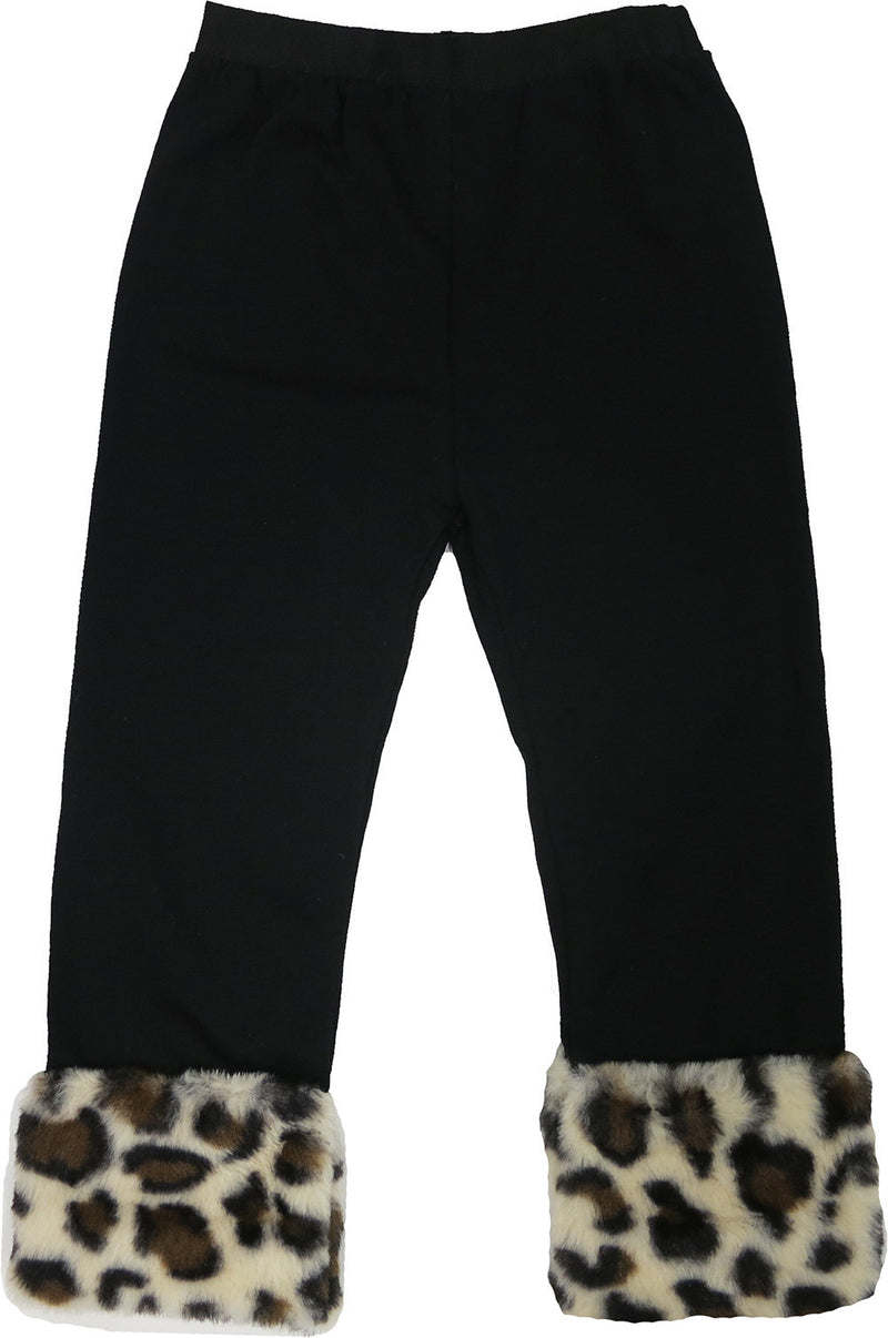 Black Legging With Leopard Fur Trim