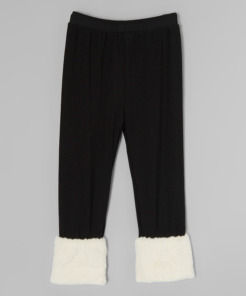 Black Legging With Cream Fur Trim
