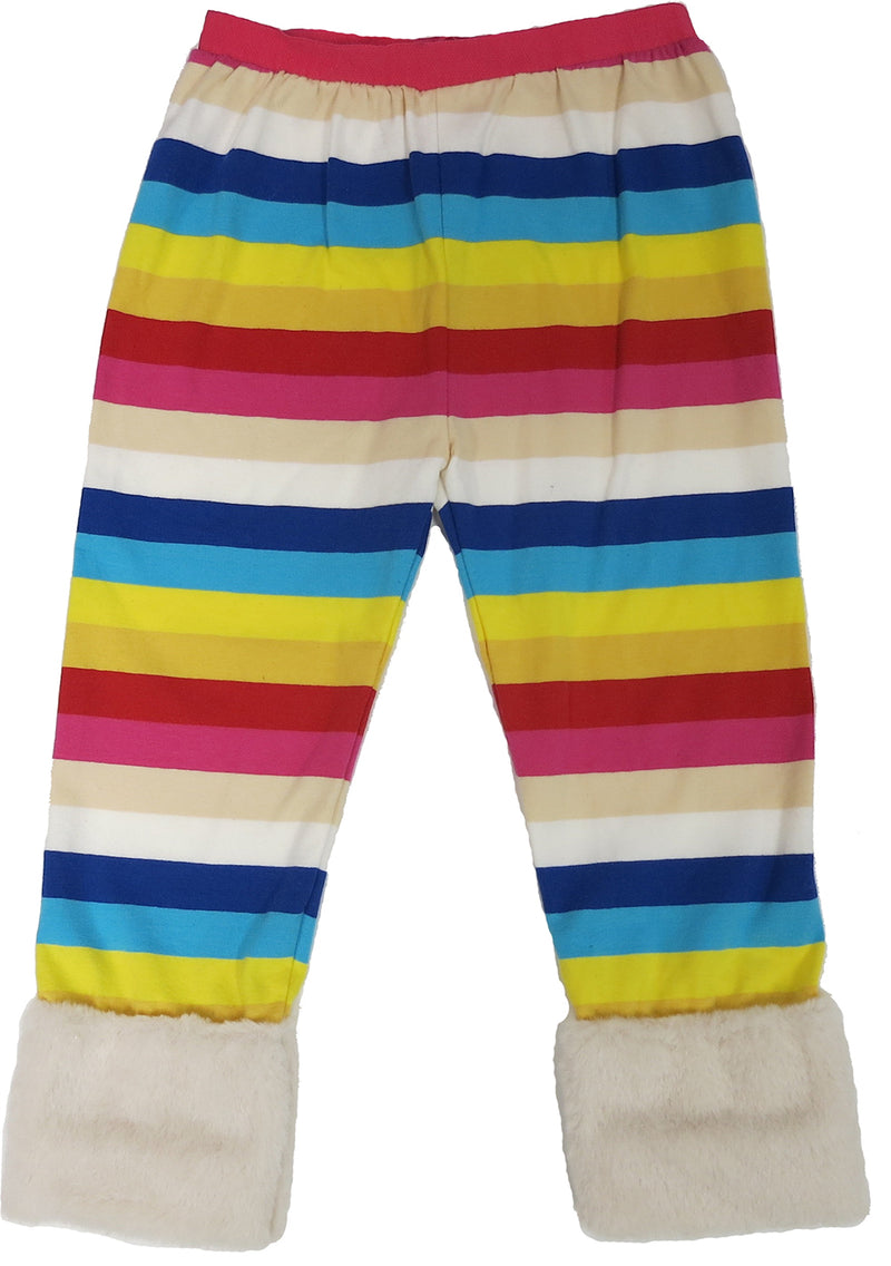 Rainbow Legging With Cream Fur Trim
