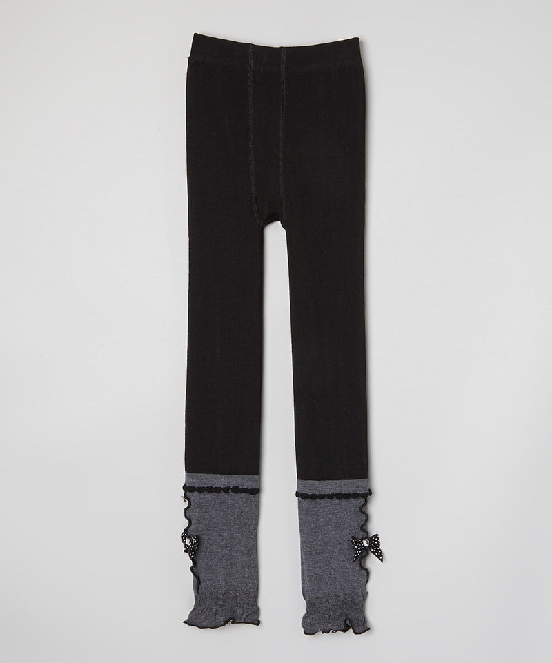 Black & Gray Cotton Legging With Bow