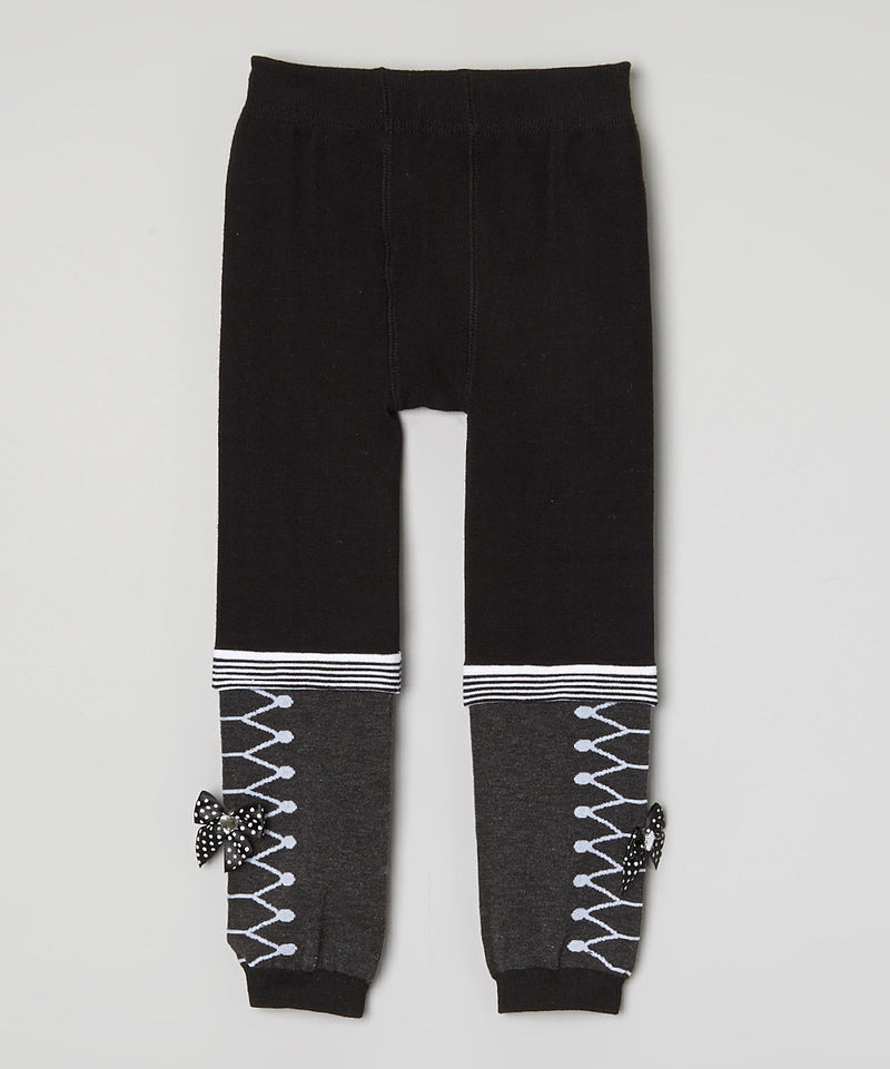Black & Gray Bow Leggings
