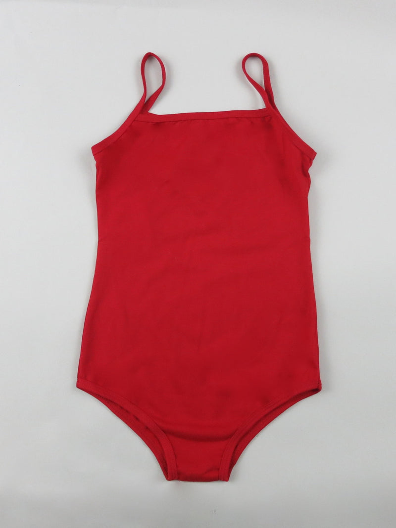 Red Cotton Keyhole Spaghetti  Leotard