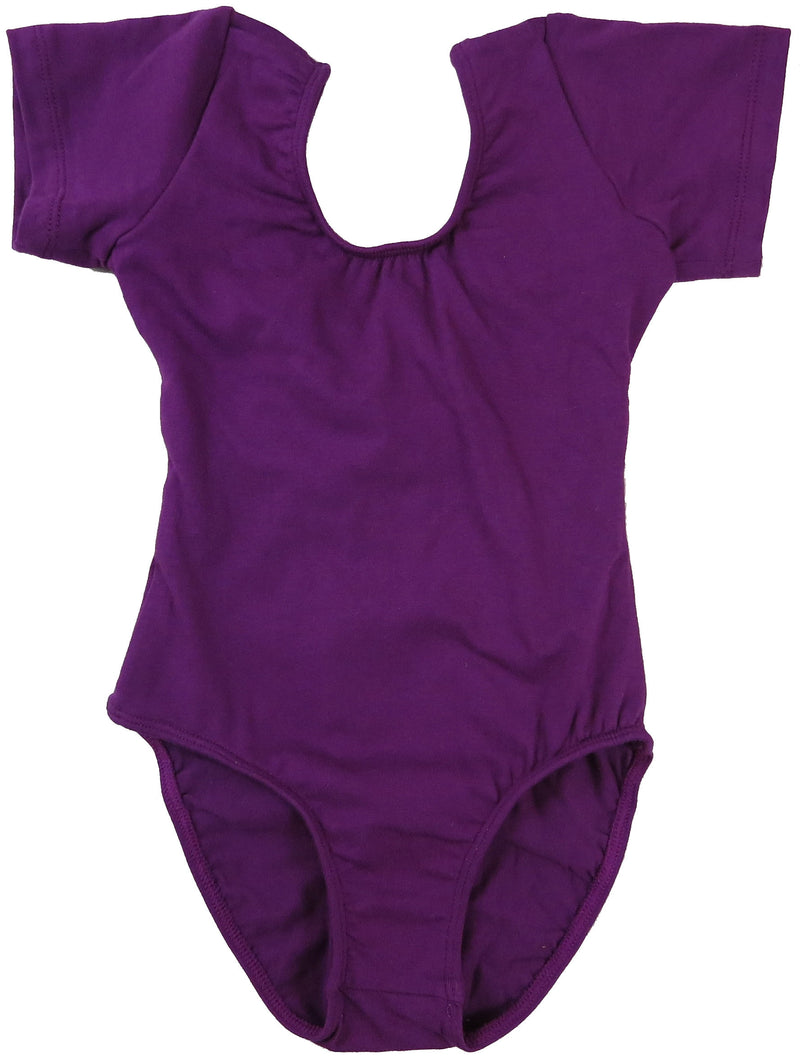 Purple Two Layer Short Sleeve  Leotard