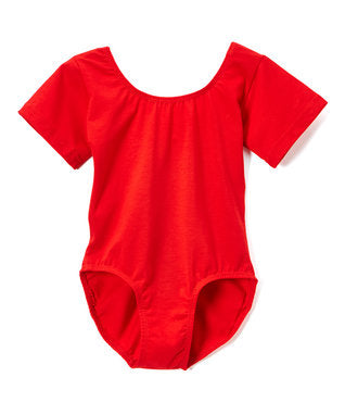 Red Short Sleeve Cotton Leotard
