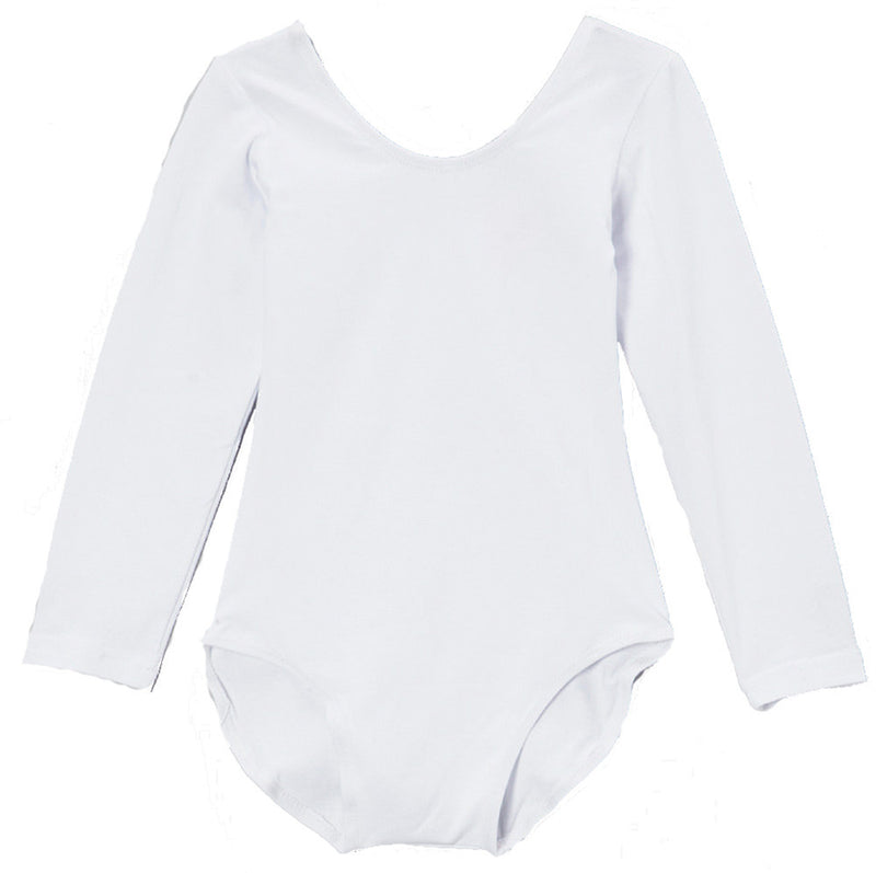 White Long Sleeve  Leotard