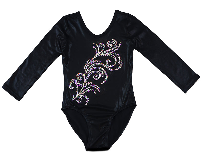 Black Long Sleeve  Rhinestone Competition Leotard