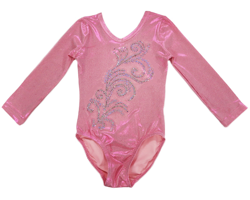 Pink Long Sleeve Rhinestone Competition Leotard