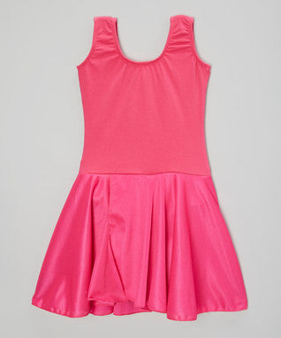 Hot Pink Skirted 2 Layer Tank Top Leotard