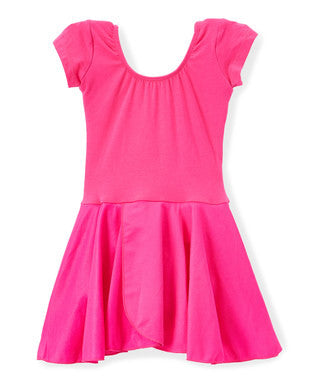 Hot Pink Skirted 2 Layer Short Sleeve Leotard