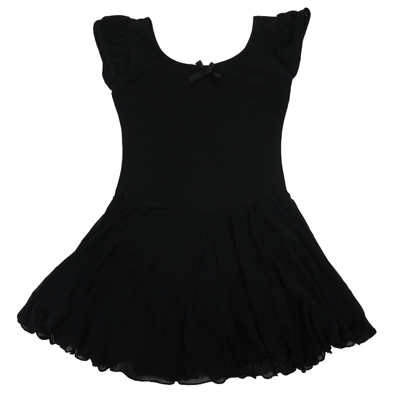 Black Skirted 2 Layer Short Sleeve Leotard