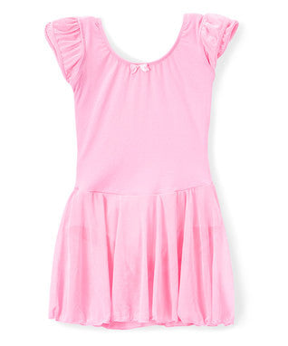 Pink Skirted 2 Layer Short Sleeve Leotard